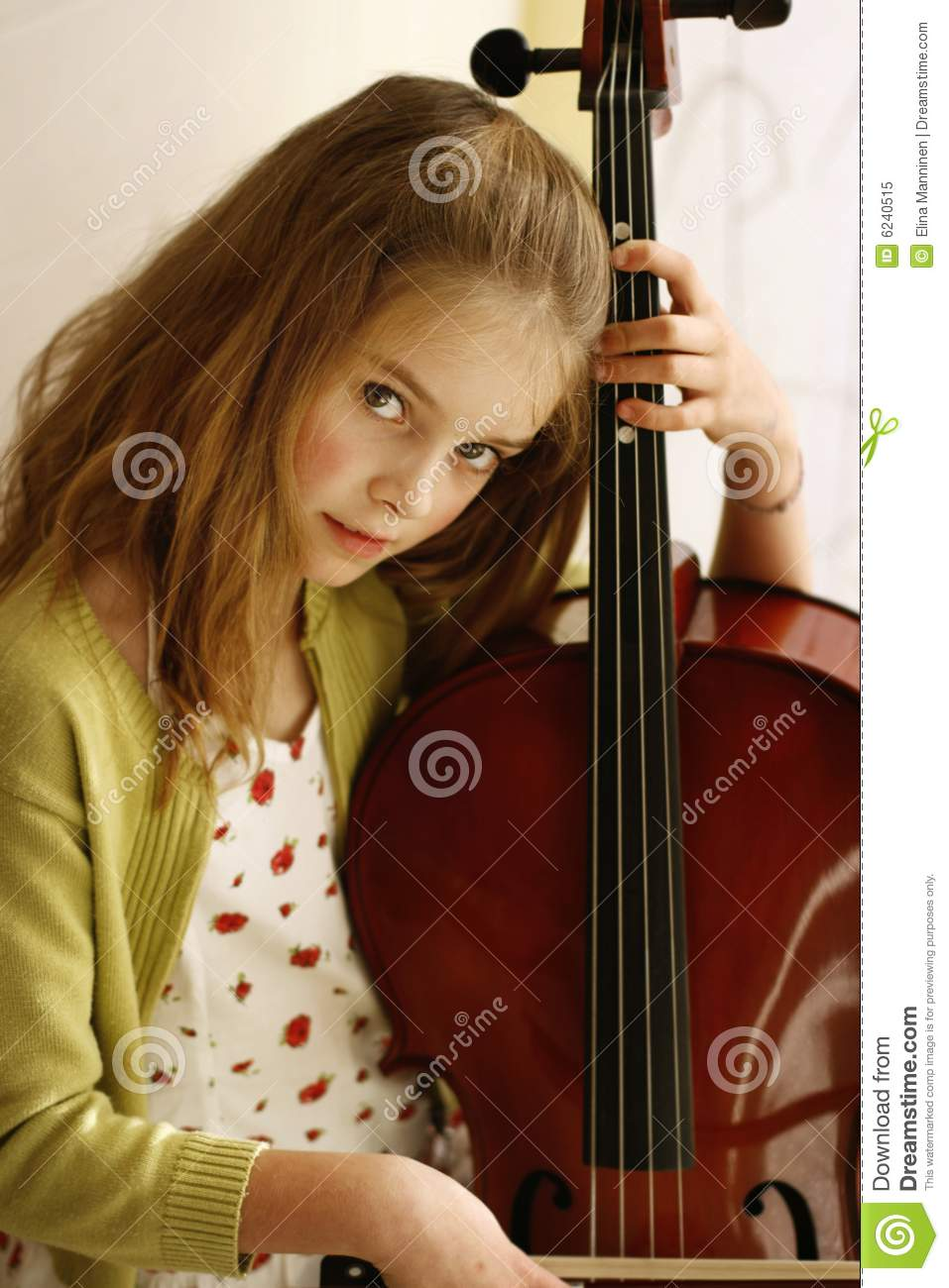 Girl playing cello stock image. Image of happy, caucasian ...