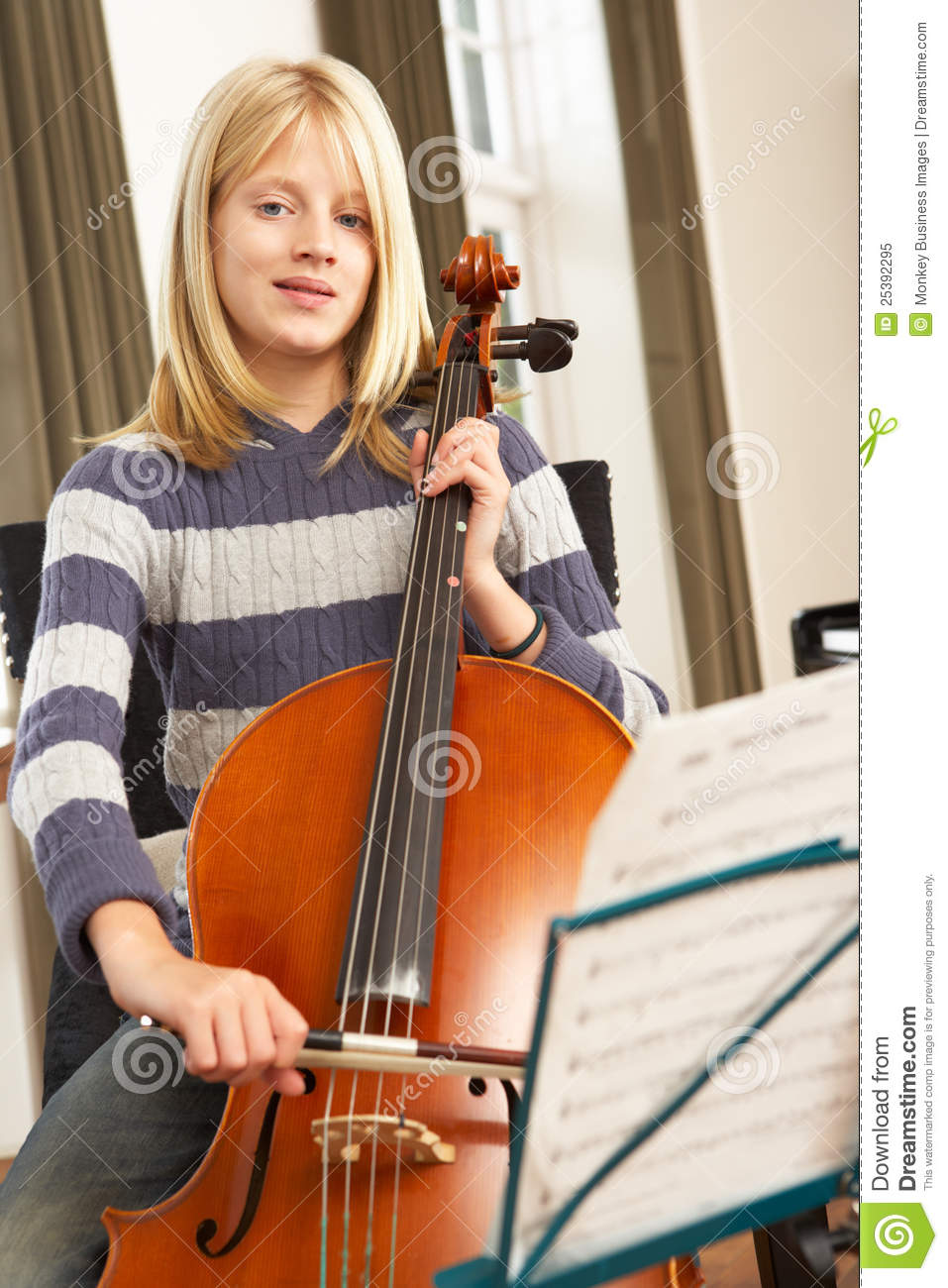 Girl Playing Cello At Home Royalty Free Stock Photo ...