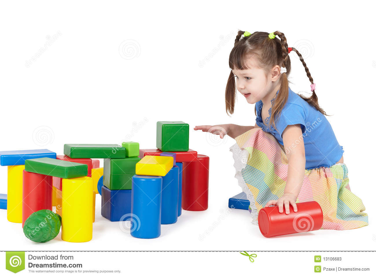Girl Toys Color : Girl playing with color toys stock photos image