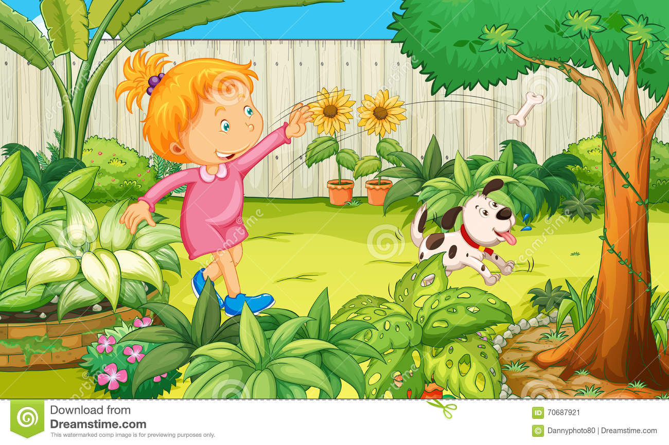 Girl Playing With Dog In The Garden Stock Vector - Image ...