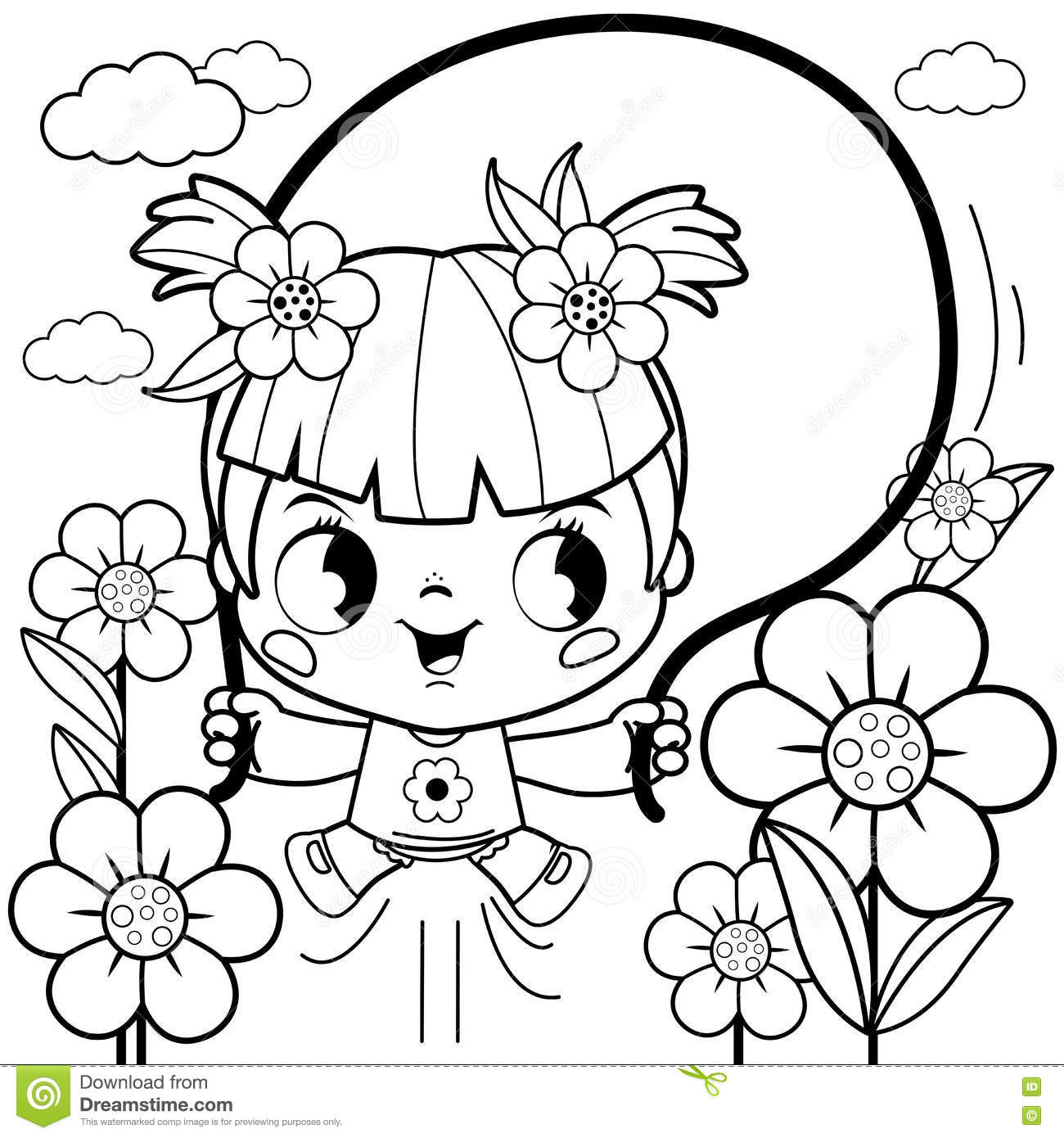 Girl Playing In The Flower Garden Coloring Book Page