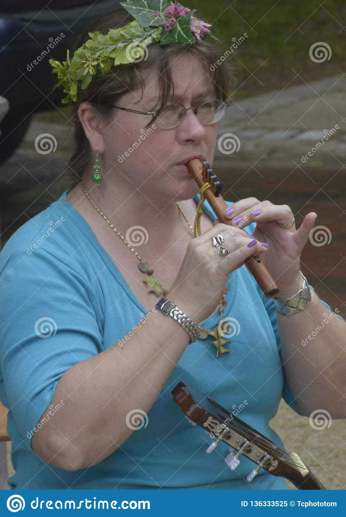 Girl playing a flute in Greenbelt, Maryland