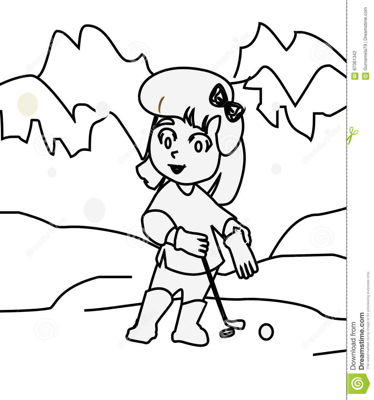 Girl Playing Golf Coloring Page Stock Illustration Image 87361342