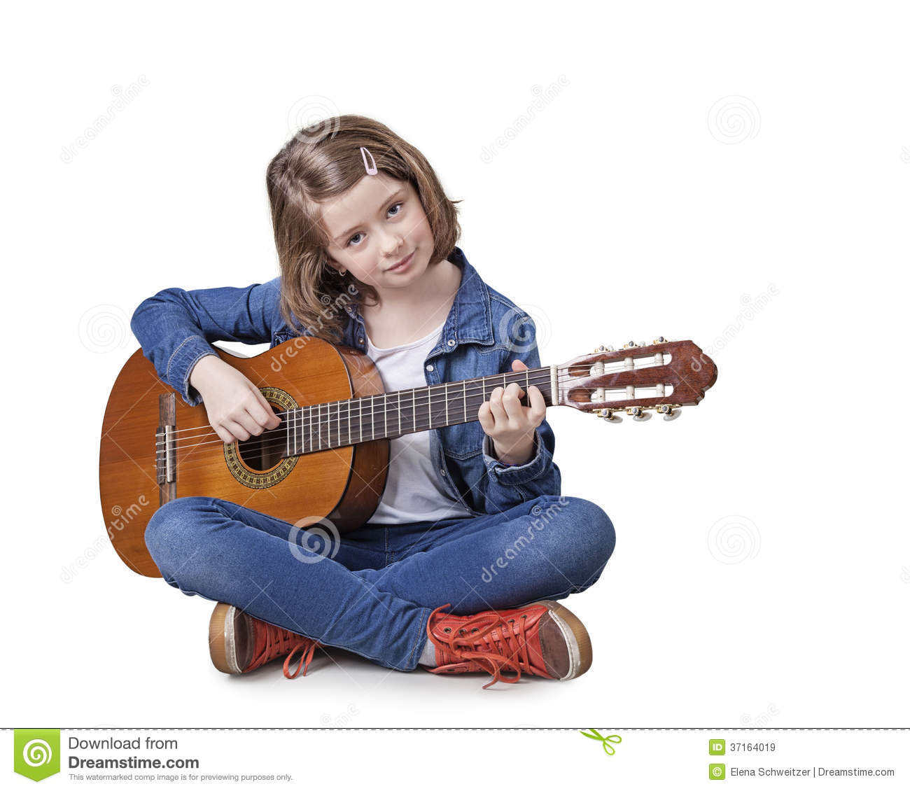 girl playing the guitar royalty free stock images image