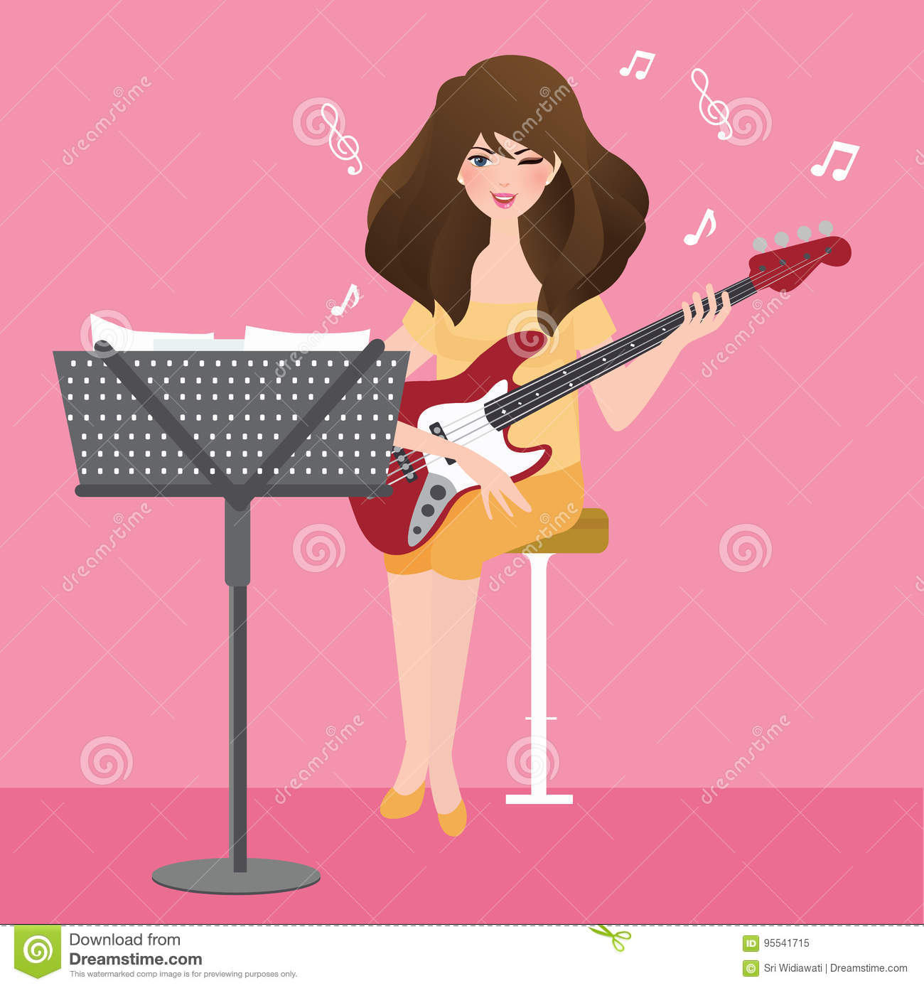 Girl Playing Guitar Composing Musical Chord With Note Stand Stock