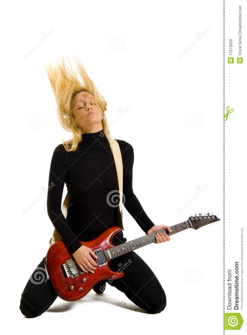 girl playing her electric guitar on knees royalty free stock images image 11073559. Black Bedroom Furniture Sets. Home Design Ideas