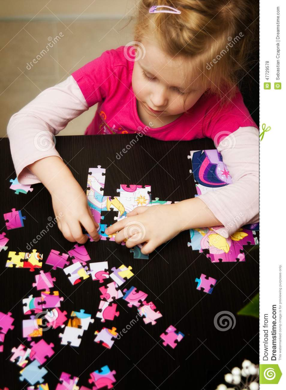 Adorable Four Year Boy With Big Blue Eyes Stock Image: Girl Playing With Jigsaw Puzzle Stock Photo