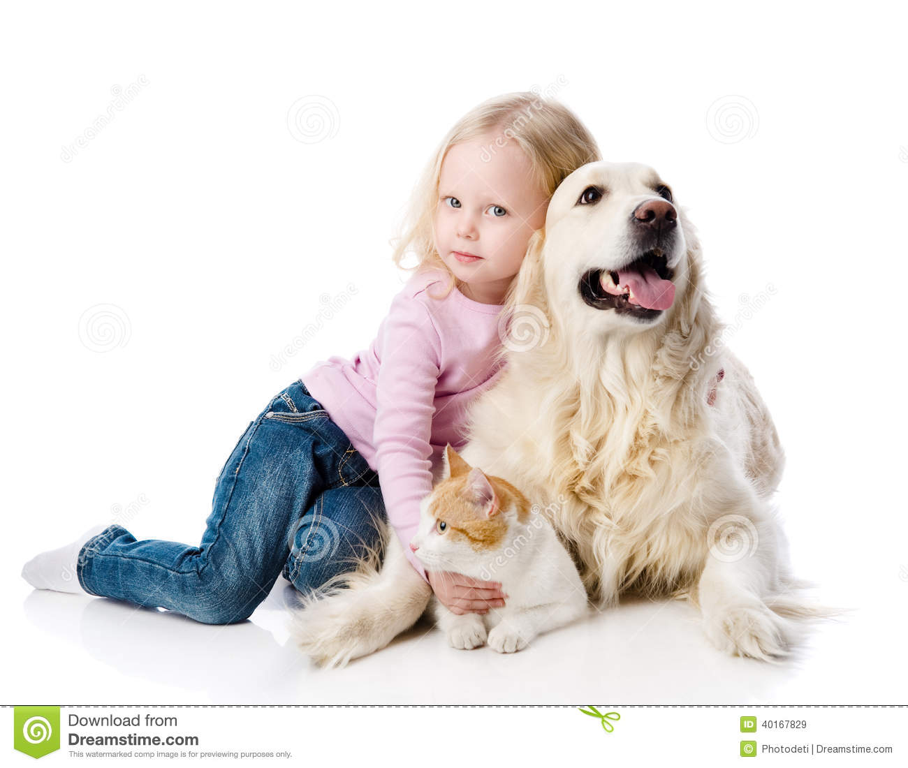 Download Girl Playing With Pets - Dog And Cat. Stock Image - Image of girl, golden: 40167829