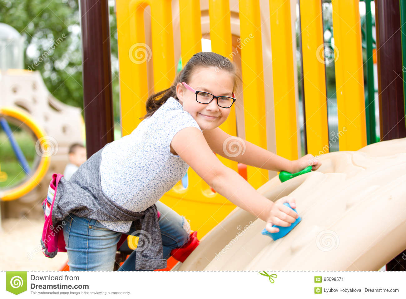 Girl is playing on playground
