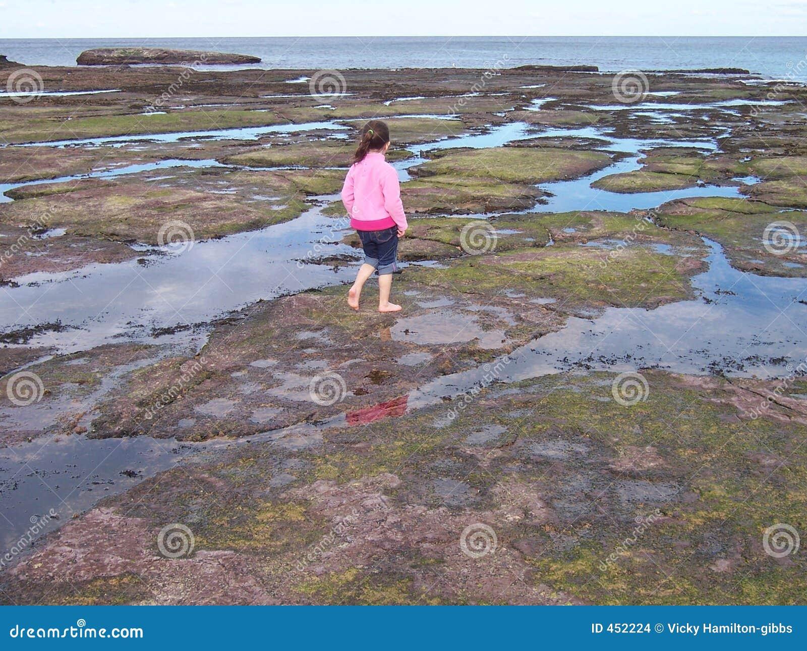 Girl playing in rock pools