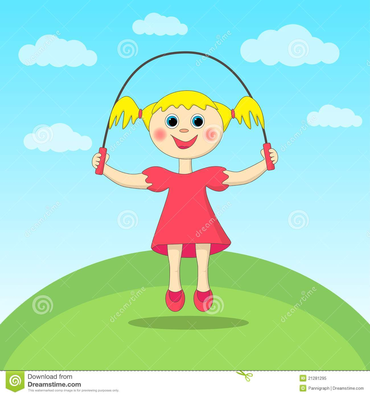 Small garden cartoon - Girl Playing With A Skipping Rope Royalty Free Stock Photo Image
