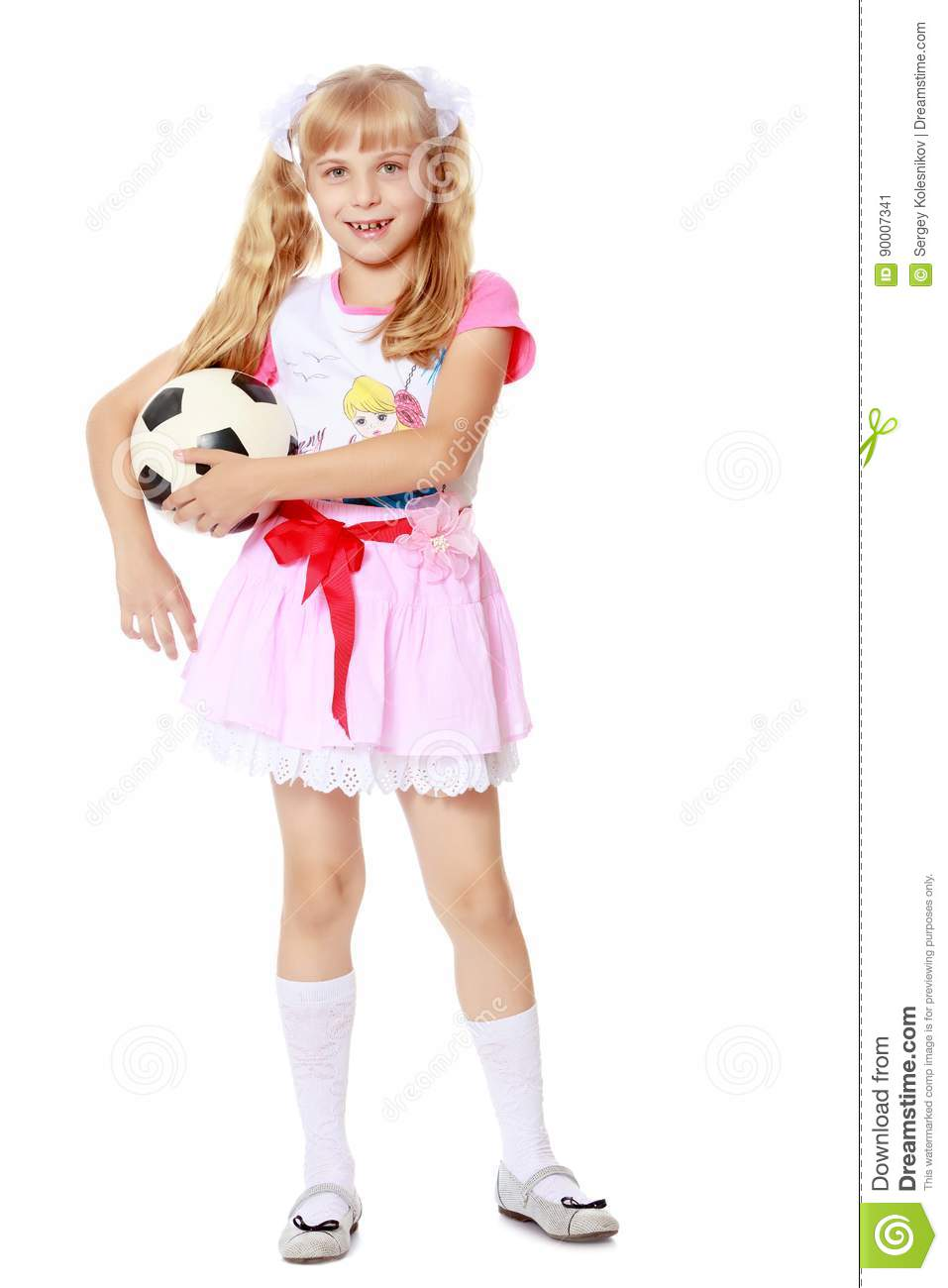 8932f9676 Girl Playing With Soccer Ball Stock Image - Image of caucasian