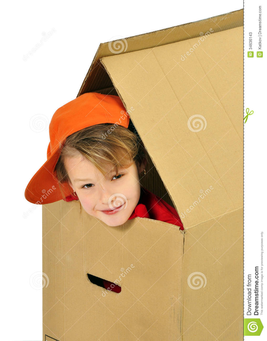 girl playing a toy house stock photos image 34636143. Black Bedroom Furniture Sets. Home Design Ideas