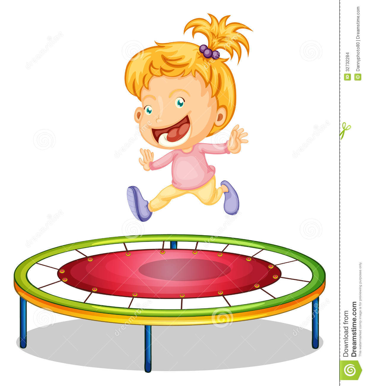 A Girl Playing Trampoline Stock Vector Image Of Cartoon