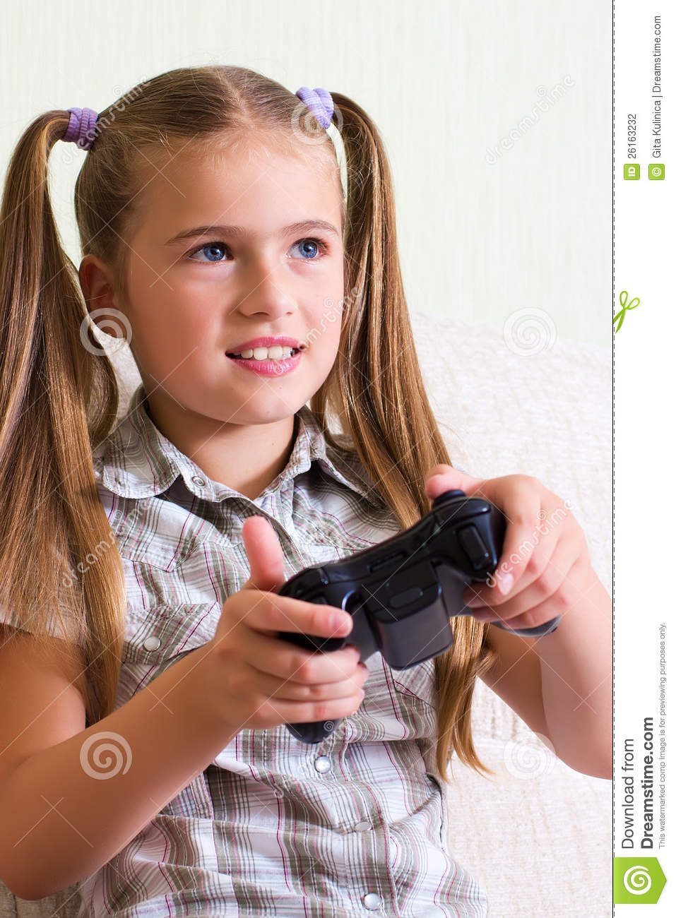 Girl Playing Video Game. Stock Photography - Image: 26163232