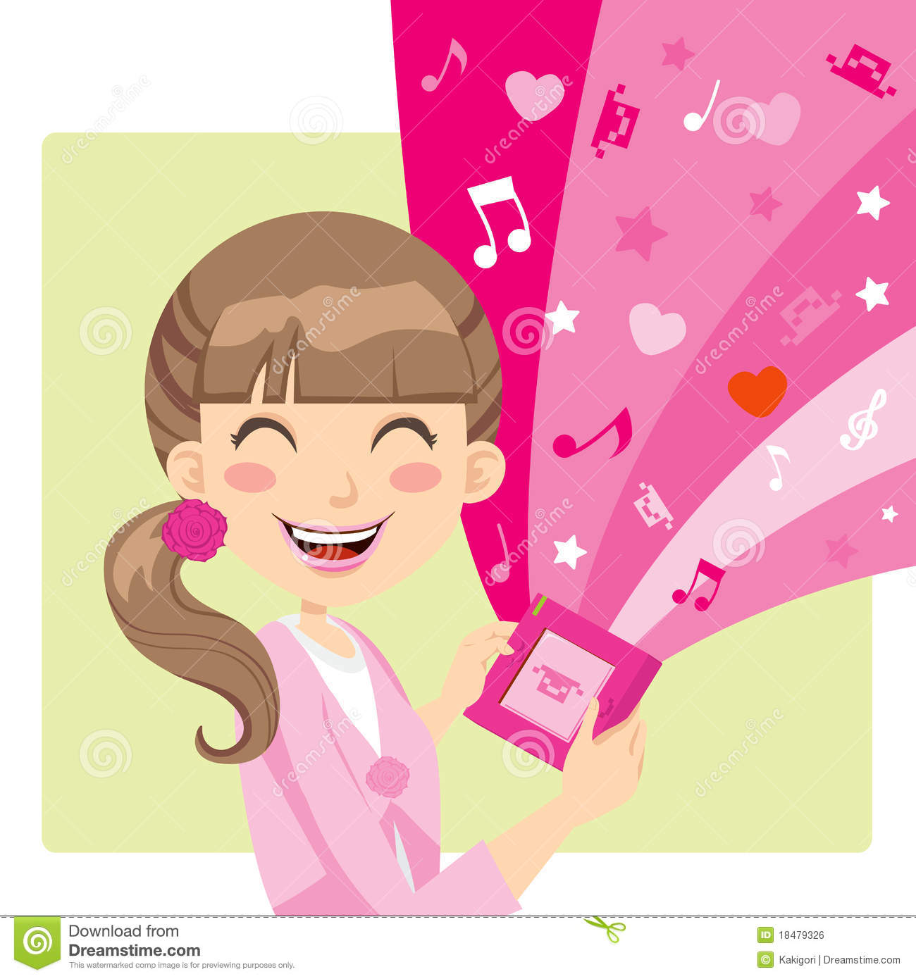 Girl Playing Video Games stock vector. Image of magic ...