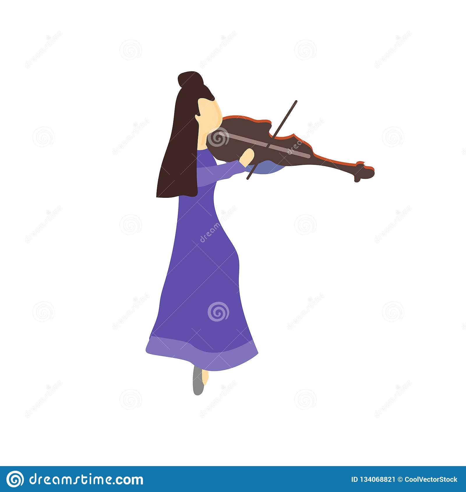 Girl playing violin vector vector sign and symbol isolated on white background, Girl playing violin vector logo concept