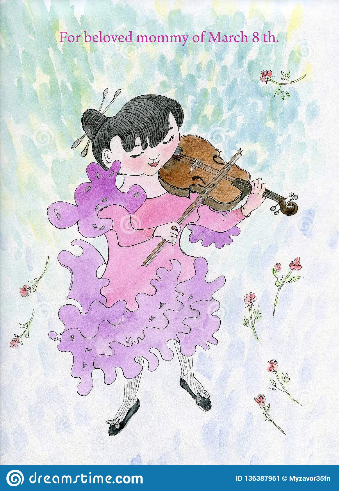 The girl plays the violin.