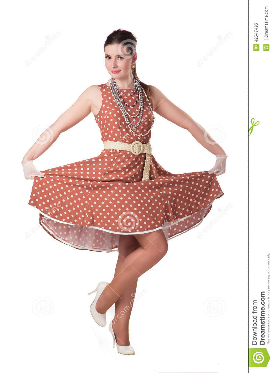Girl In Polka-dot Dress Stock Photo - Image: 42547495