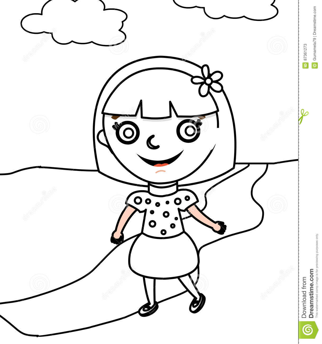 in a polka dots dress coloring page stock illustration