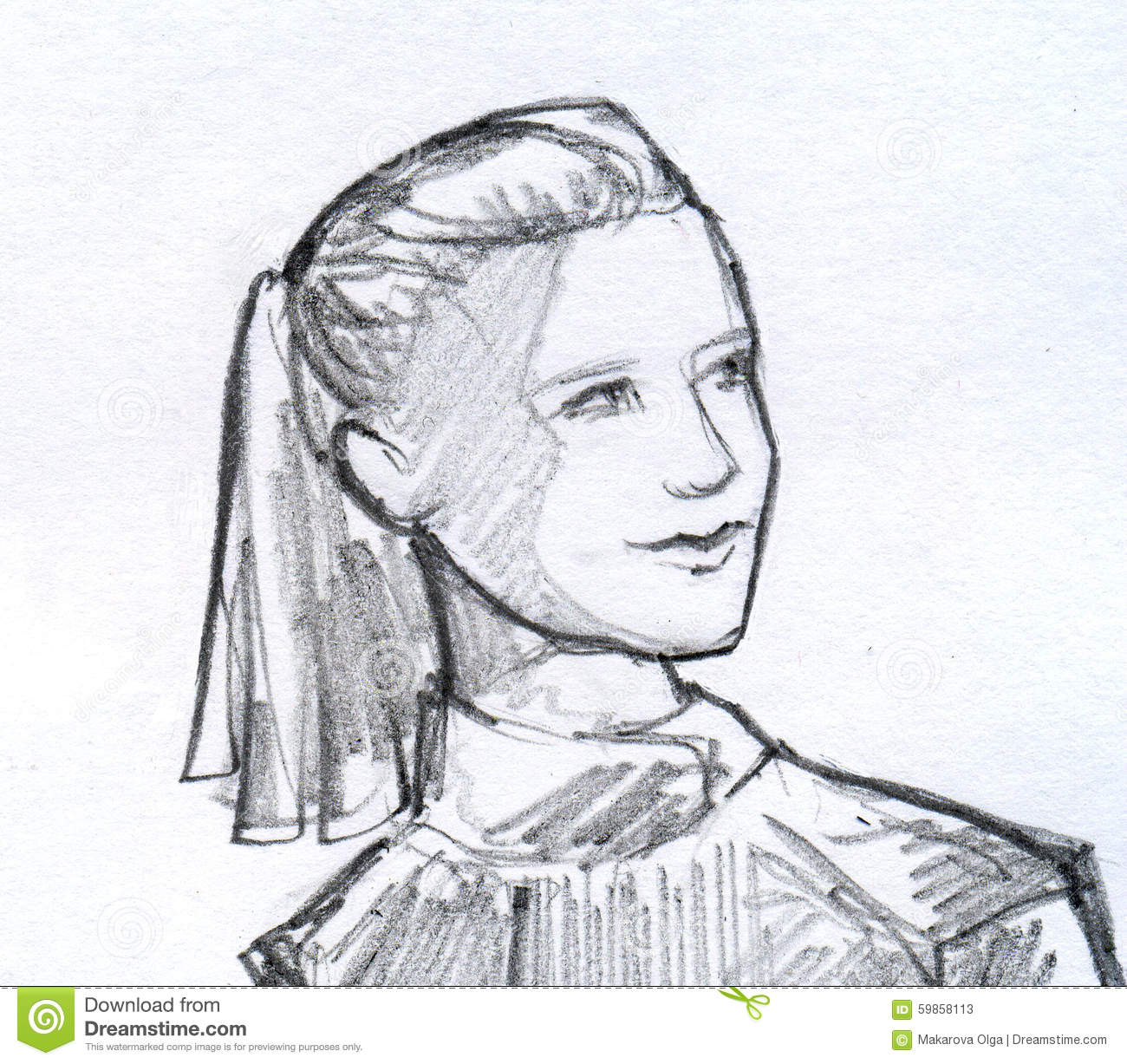 Girl with ponytail pencil sketch stock illustration illustration