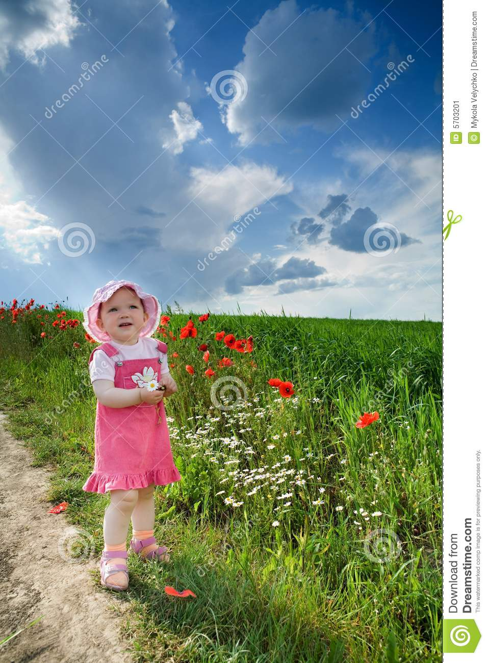 Download Girl with poppies stock image. Image of flower, plant - 5703201