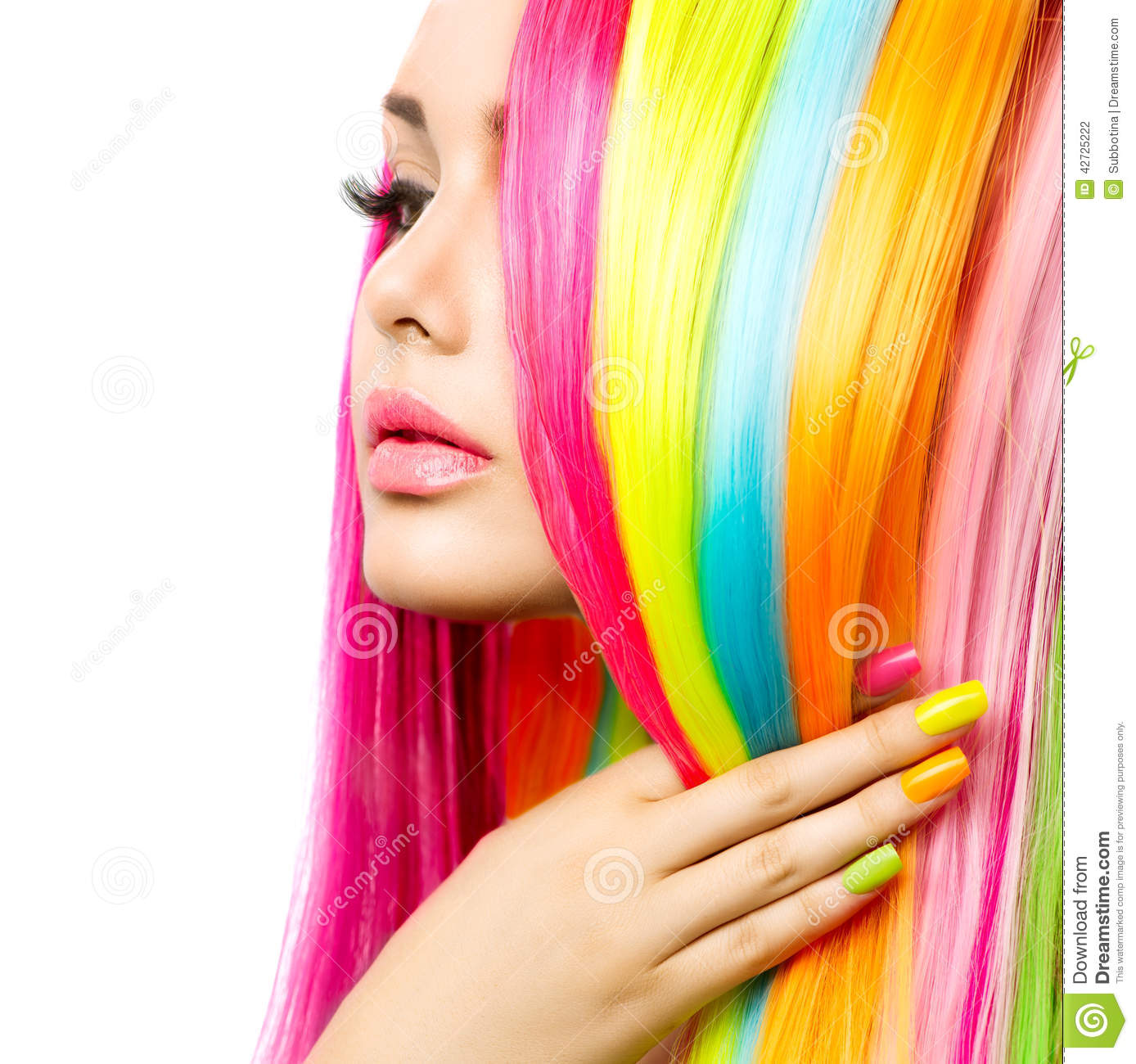 Girl Portrait With Colorful Hair And Nail Polish Stock Photo Image