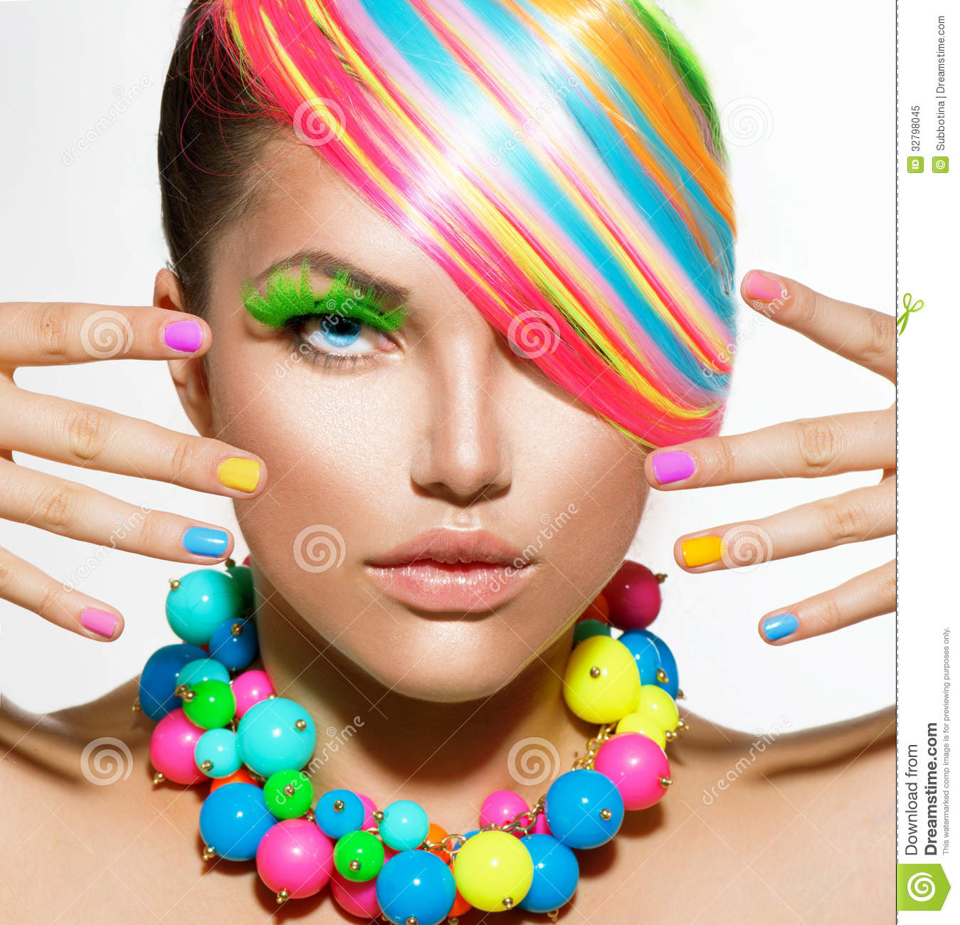 makeup colorful portrait hair beauty accessories kleurrijke met nails nail maquillaje accessory rainbow preview colors foto stuff colorido dreamstime summer