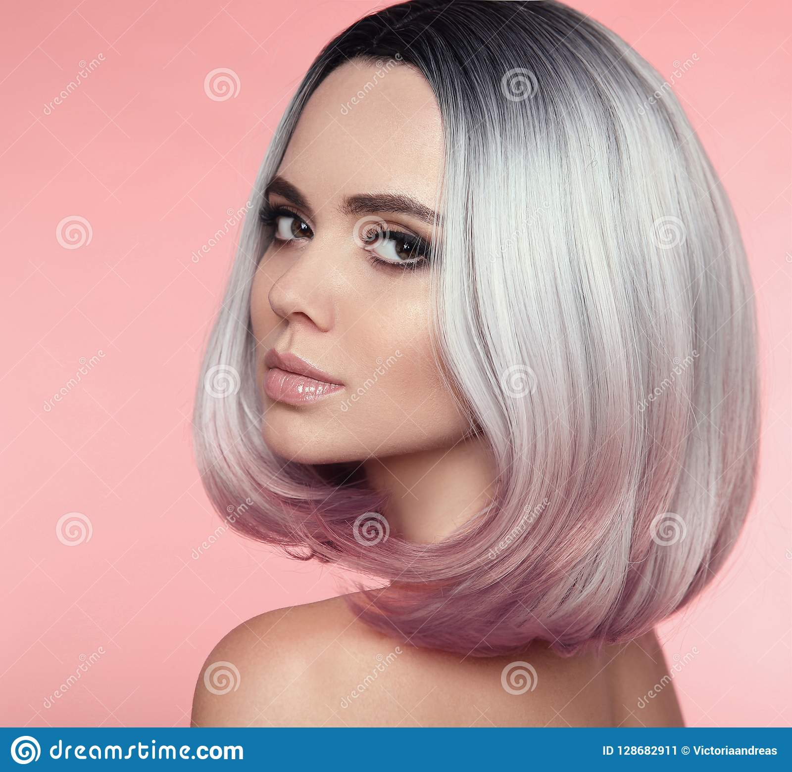 Girl Portrait Of Ombre Bob Short Hairstyle. Beautiful Hair Color Stock  Image - Image of extensions, hairdressing: 128682911