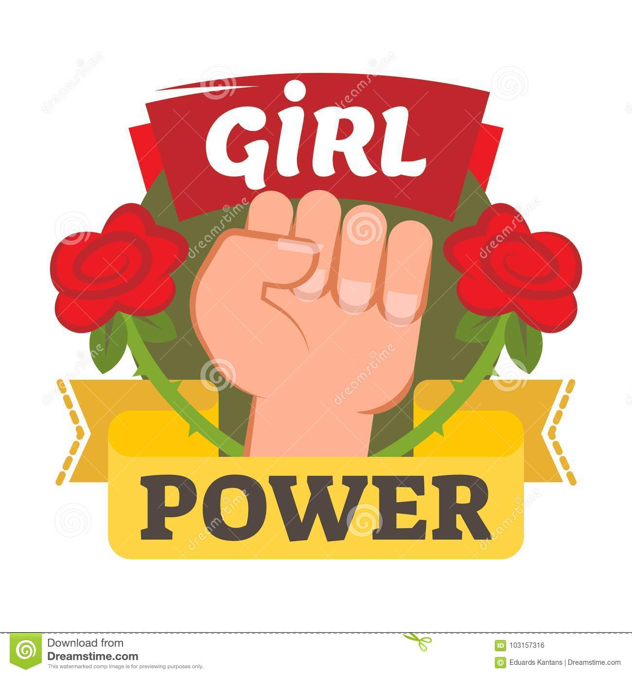 Girl Power Badge Logo Or Icon With Hand And Flowers Stock Vector