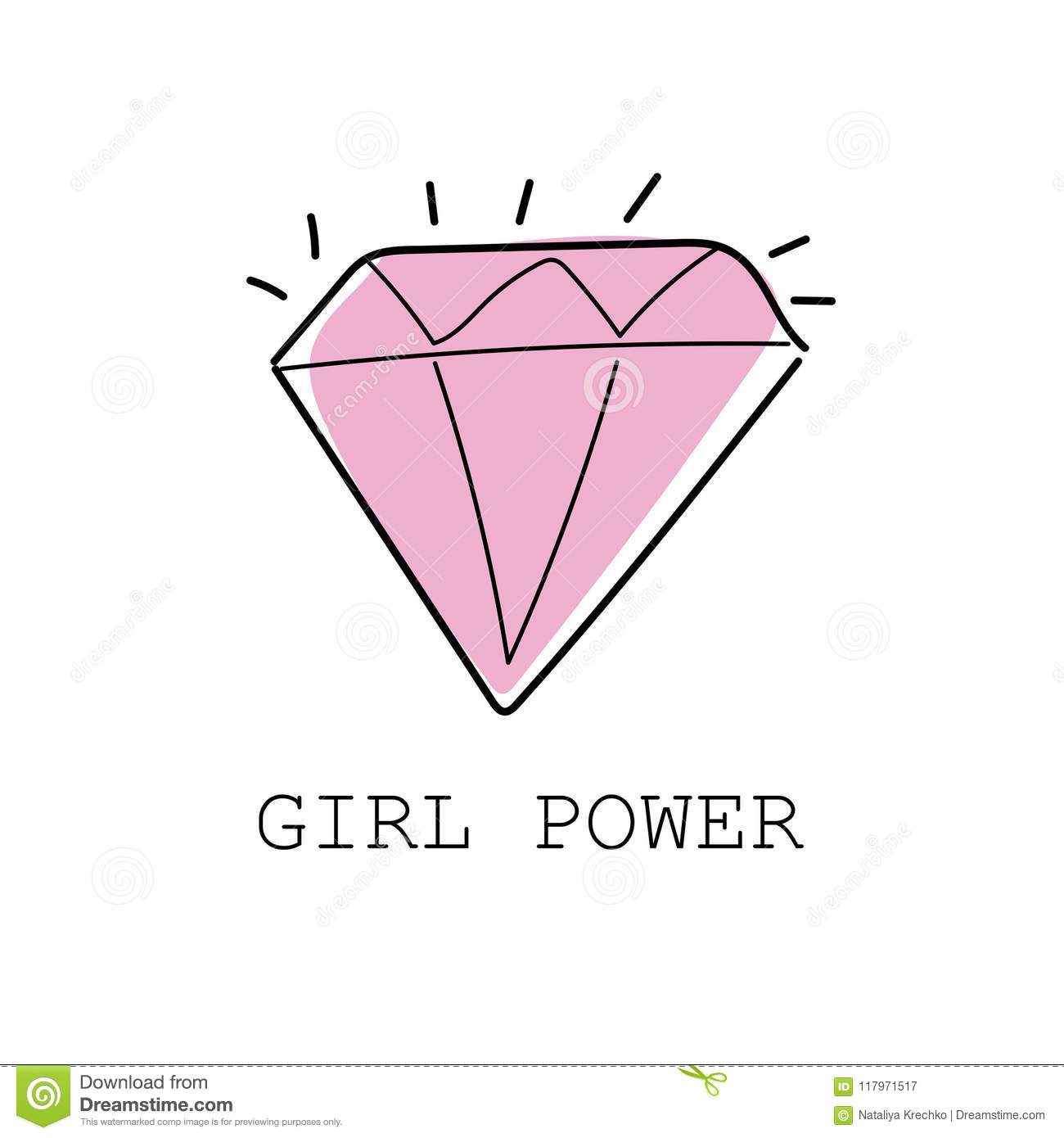 Girl Power Colorful Graffiti With Diamond - Textile Graphic Tshirt ...
