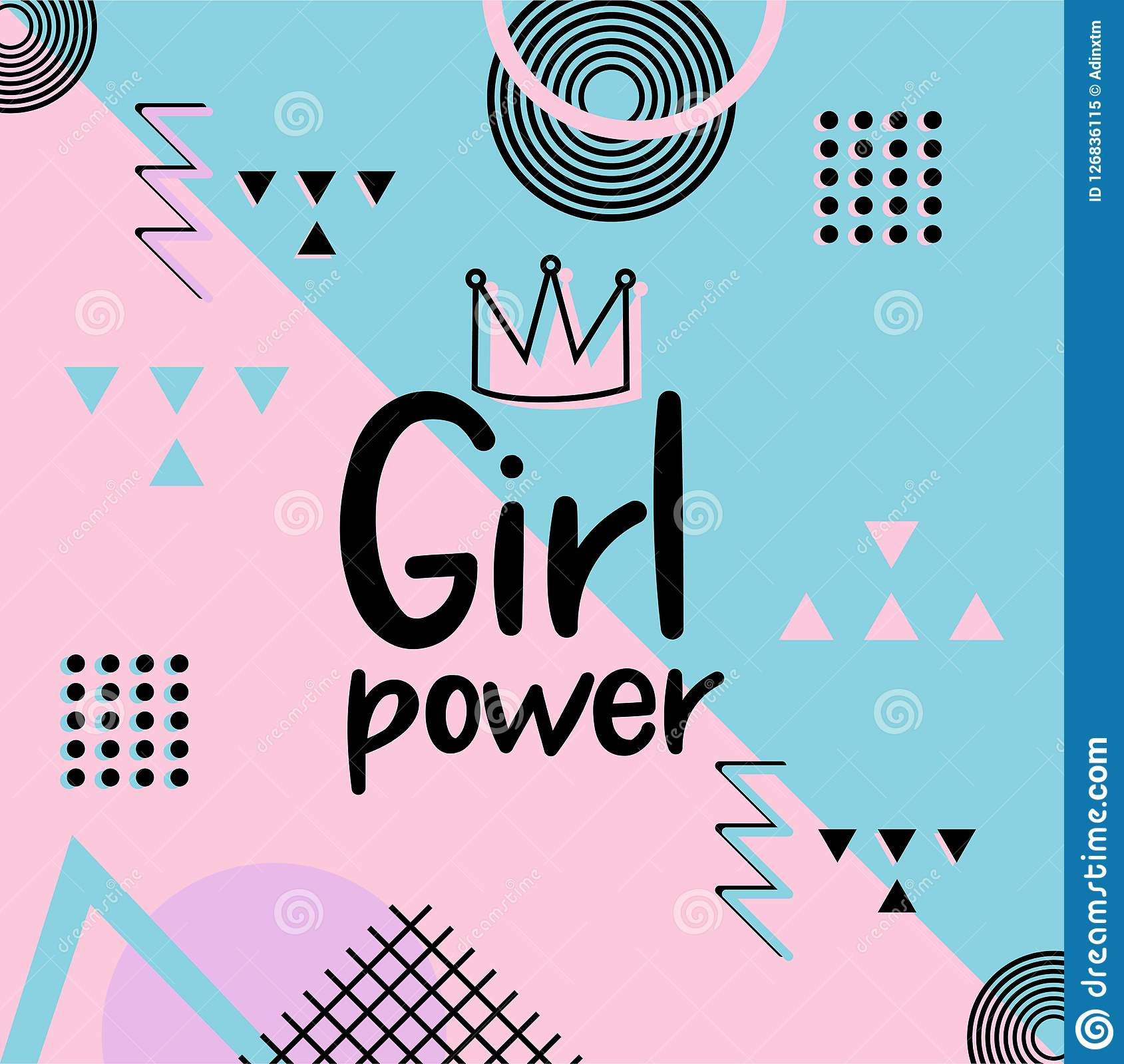 Girl Power Cute Hand Drawn Lettering On Pink Background ...