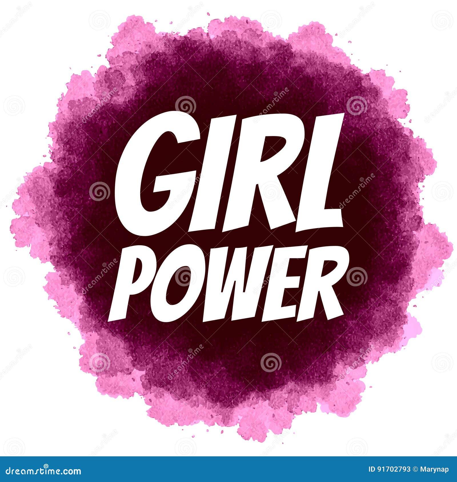 Girl Power Feminist Slogan On Digital Watercolor