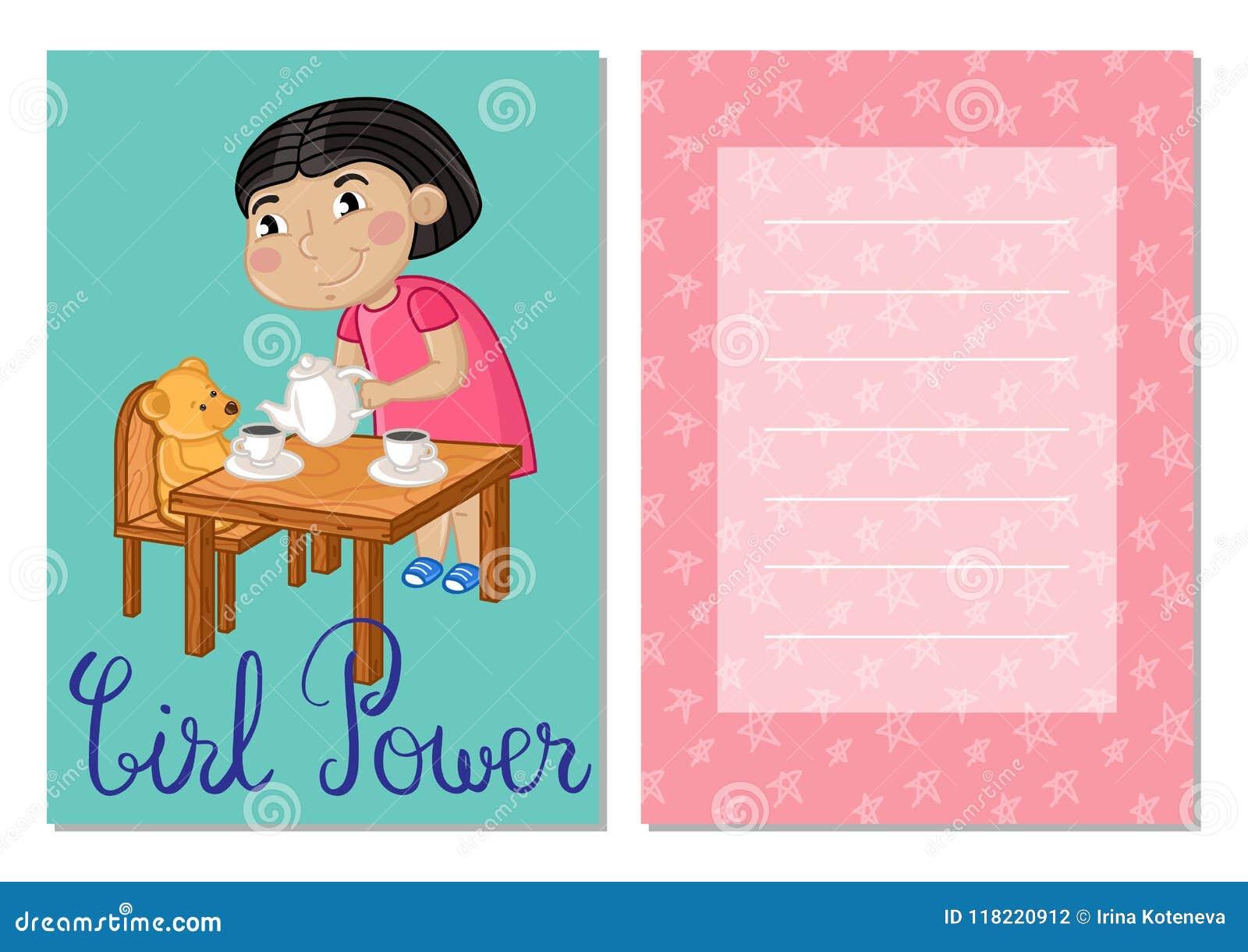 Download Girl Power Kids Postcard Template Set Stock Illustration    Illustration Of Background, Kids: