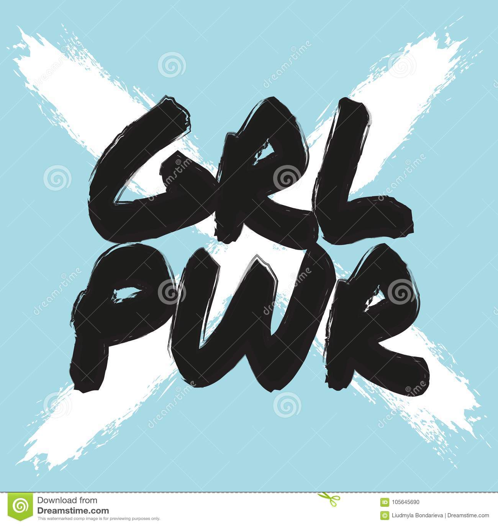 Girl power poster. Vector feminist print. Cool blue white girly slogan quote. Feminism lettering t-shirt print, freedom