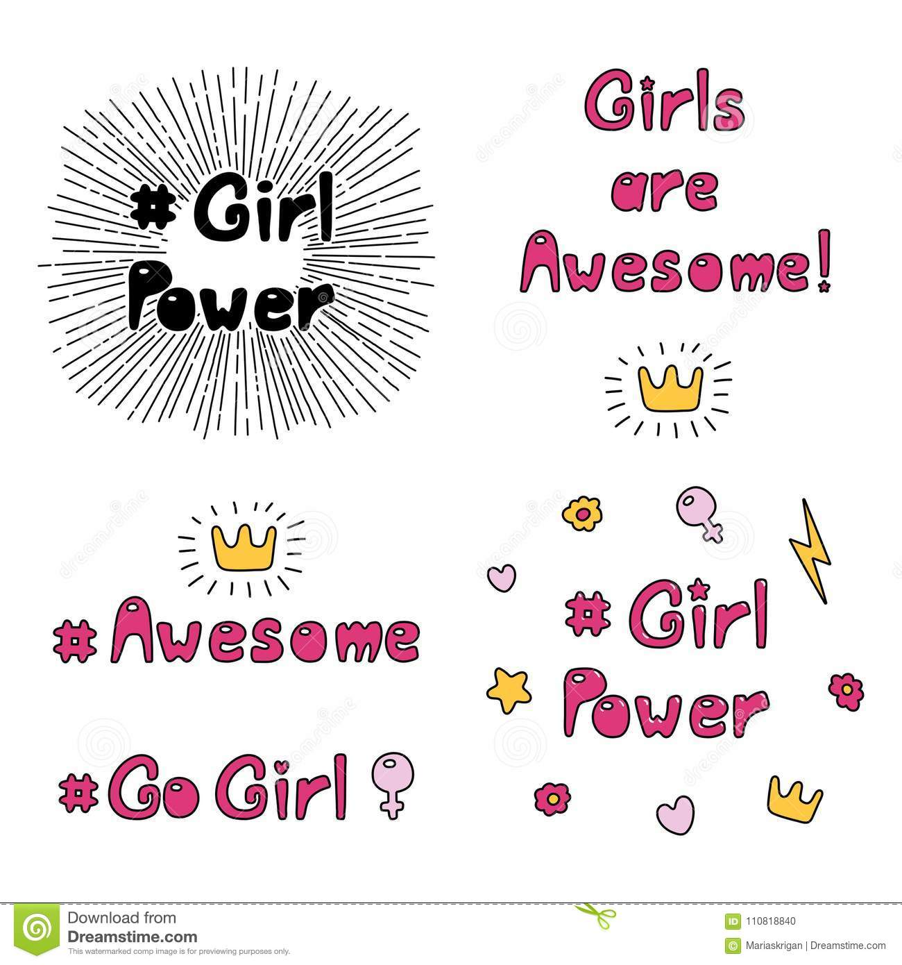 Girl Power Quotes Collection Stock Vector Illustration Of
