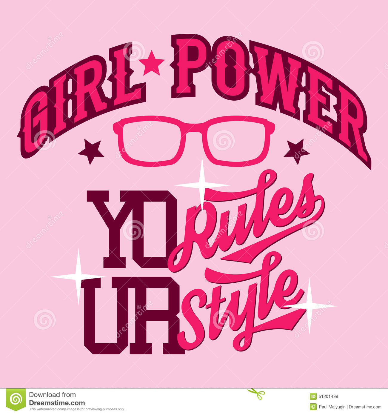 Design t shirt girl - Girl Power T Shirt Design Royalty Free Stock Photos