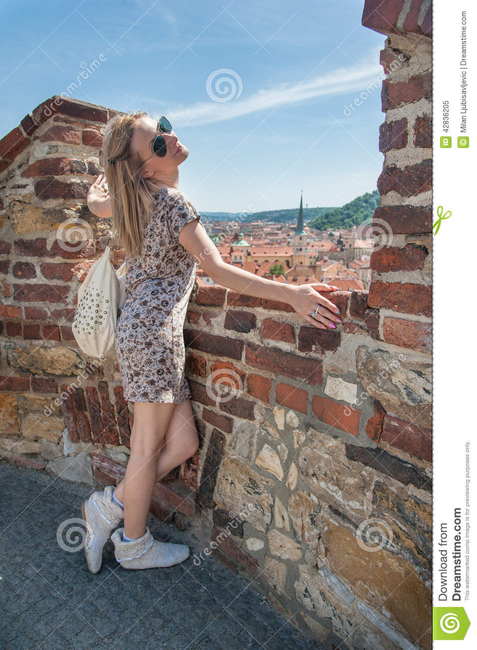 Girl In Prague Streets Stock Image Image Of Travel