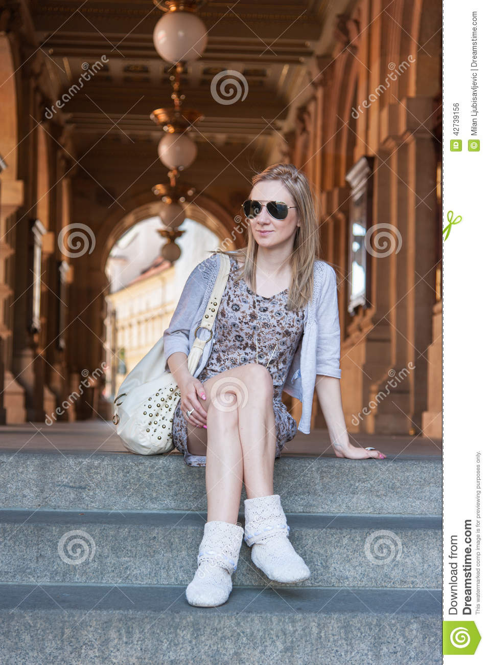Girl in Prague Streets stock photo. Image of theater