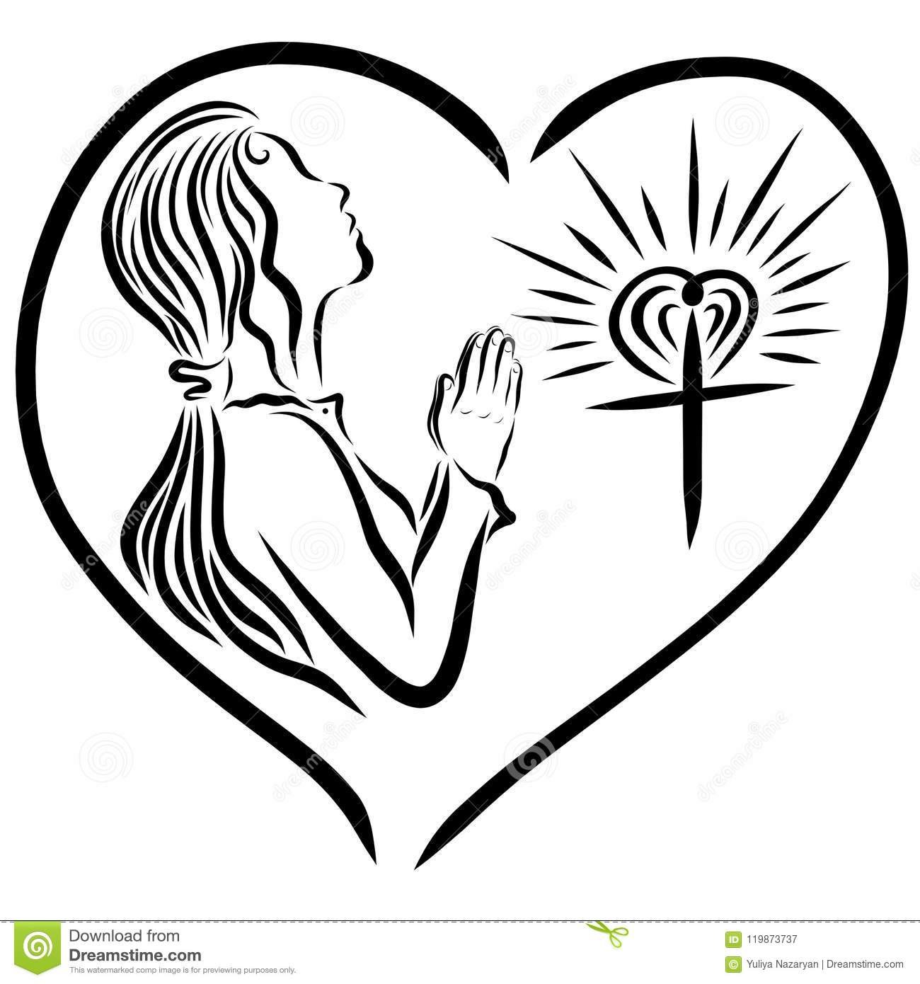 A girl praying to God, and a radiant cross, God`s love protects