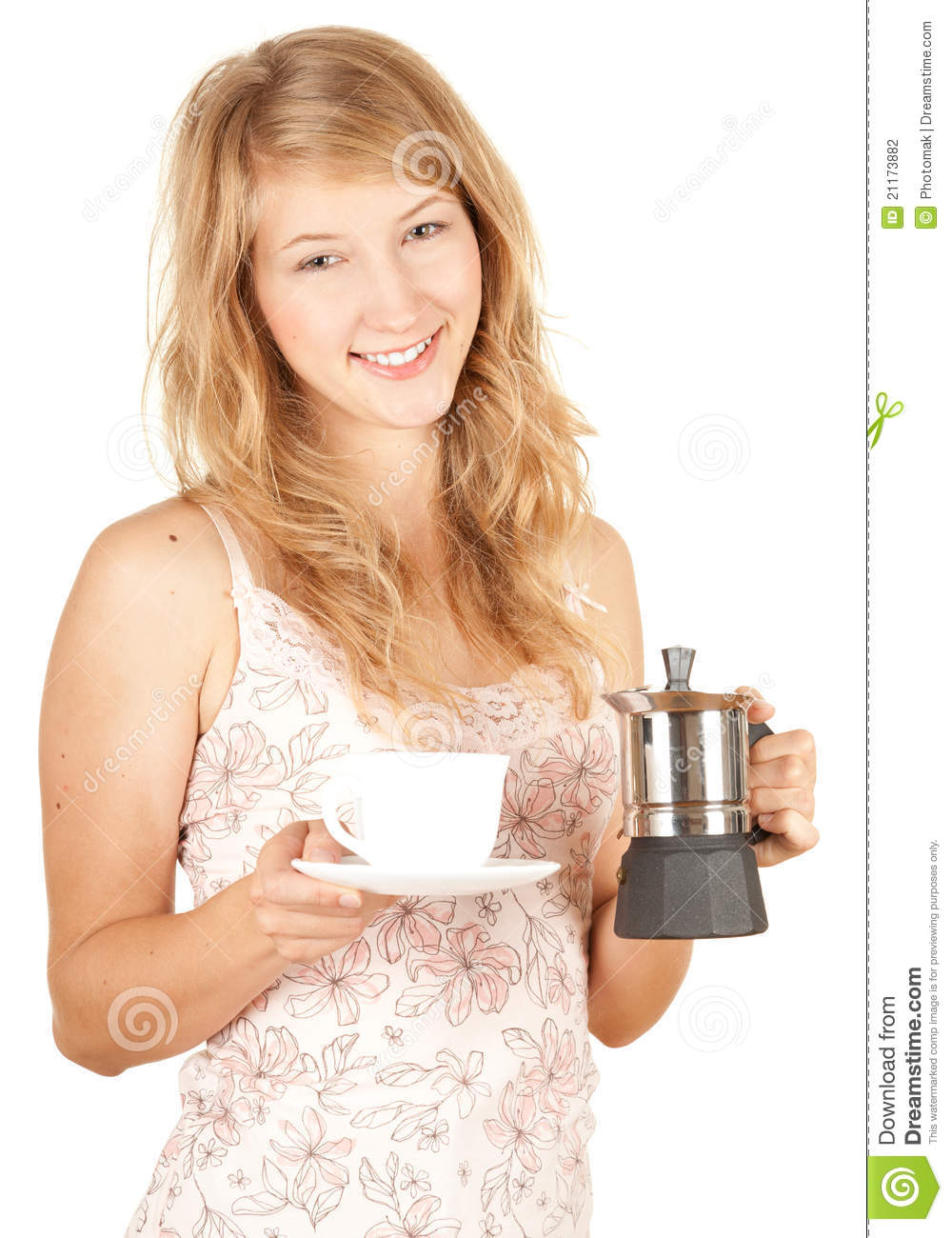 Young woman preparing morning coffee and relaxing