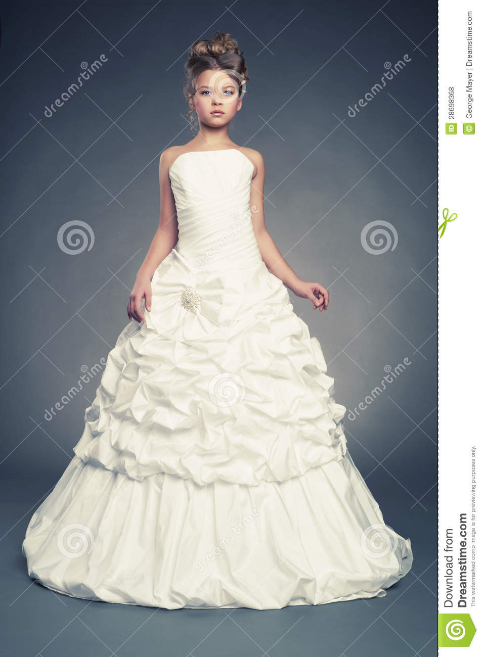 Girl Princess In White Ball Gown Stock Photo - Image of female ...