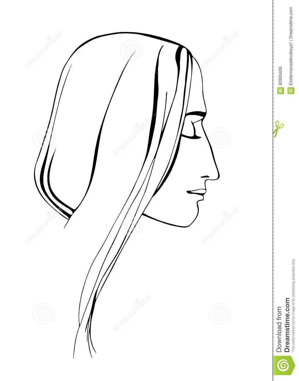 girl profile head with eyes closed vector image stock vector