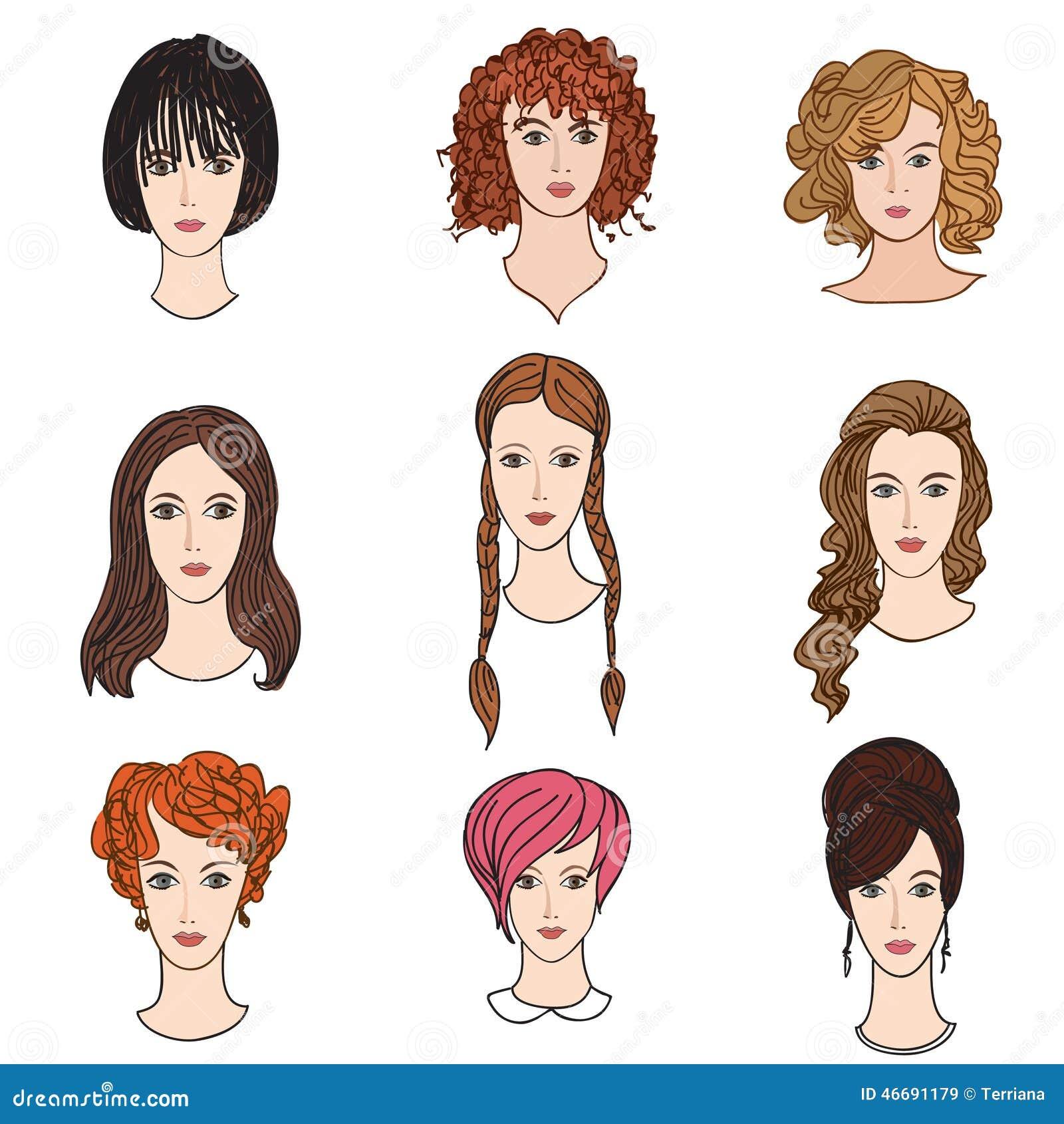 Avatar Woman: Girl Profile Set. Hair Dress Female Collection Stock