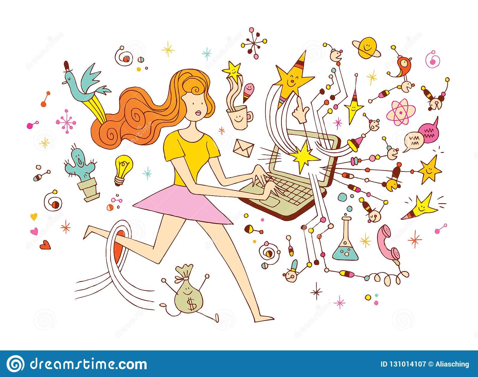 Girl Programmer Freelance Working Concept Cartoon Illustration