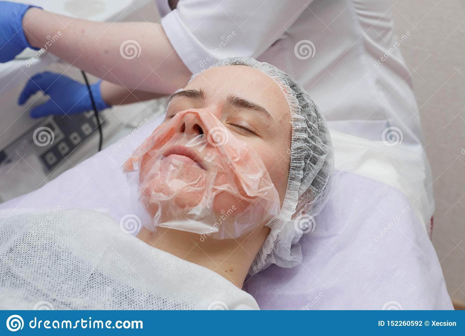 The Girl Is Provided With An Ultrasound Skin Cleaning ...