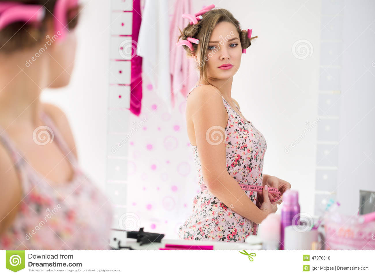 Girl In Puberty Observe Her Body Change Stock Photo