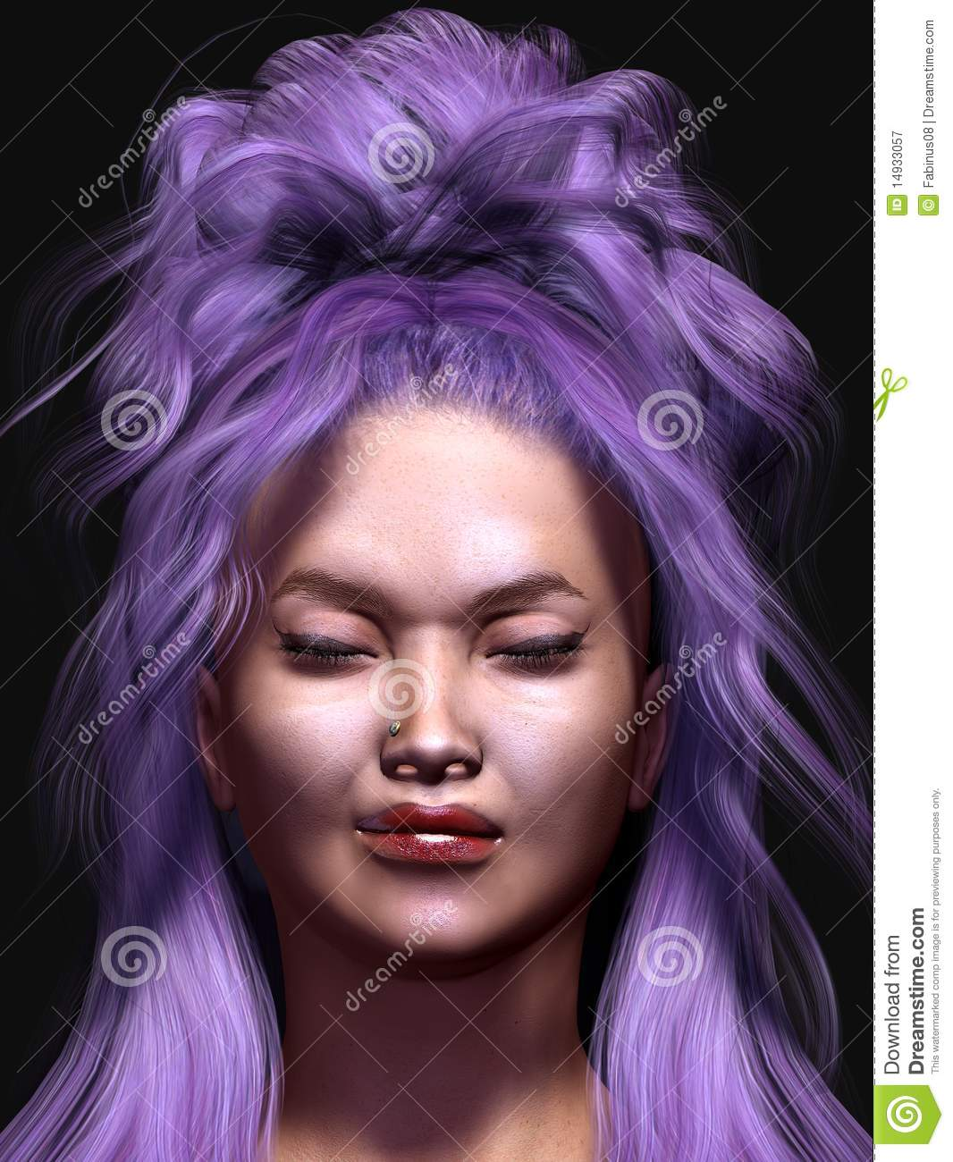 Anime Girl With Long Curly Hair: Girl With Purple Hair Stock Illustration. Illustration Of