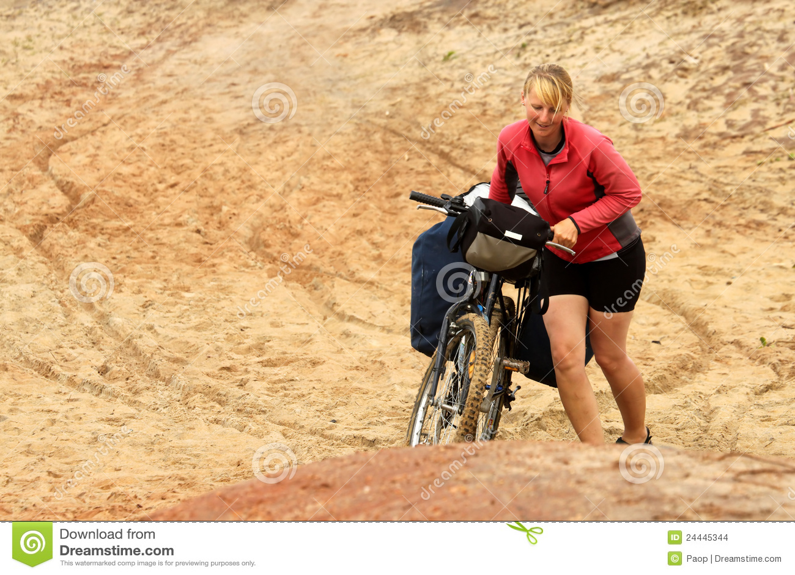 Girl Pushing Bicycle Stock Images Image 24445344