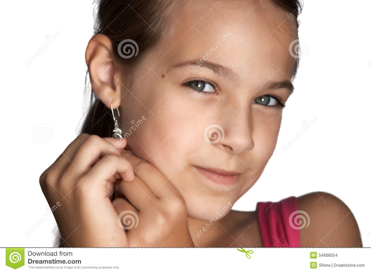 Girl Puts Earrings Stock Photo Image Of Style Blue 54668054